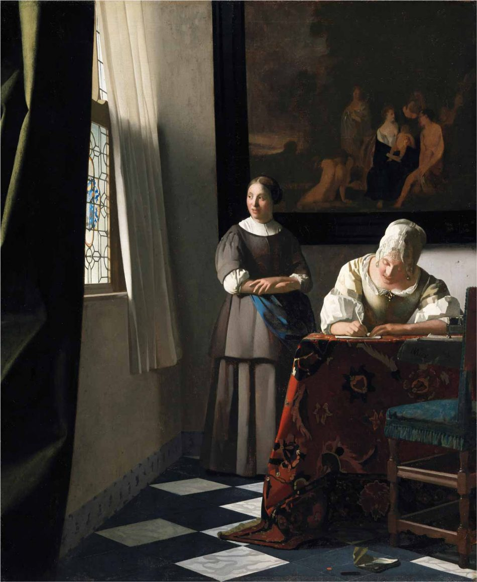 Johannes Vermeer, Woman Writing a Letter with her Maid, c. 1664-1666, oil on panel, 28 7/16 x 23.5 inches (National Gallery of Ireland, Dublin, Sir Alfred and Lady Beit, 1987, Beit Collection, © National Gallery of Ireland)