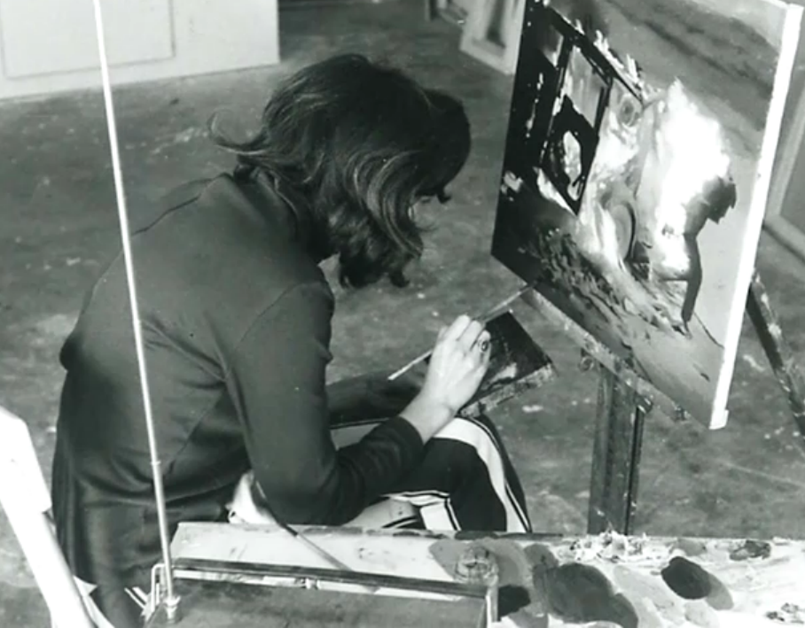 Vija Celmins in the studio