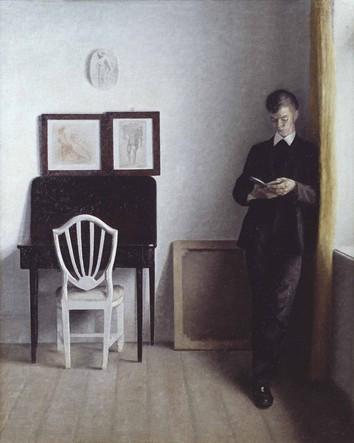 Vilhelm Hammershøi, Interiør med ung læsende mand 1898, Olie på lærred, 34,4 x 5
