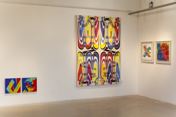 Installation view, Material Tak at Panepinto Galleries, left: Kati Vilim, center