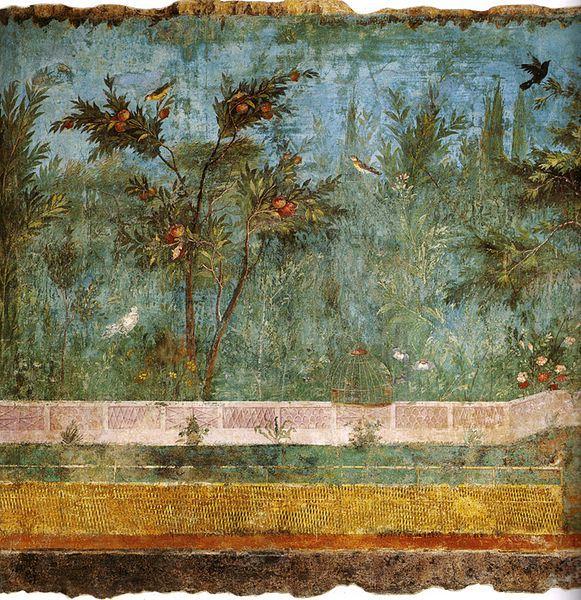(detail) La Pittura di Giardino (The Garden Fresco in the Villa di Livia), c. 30