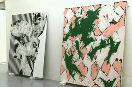 Charline von Heyl exhibition being installed at Tate Liverpool (screen capture f