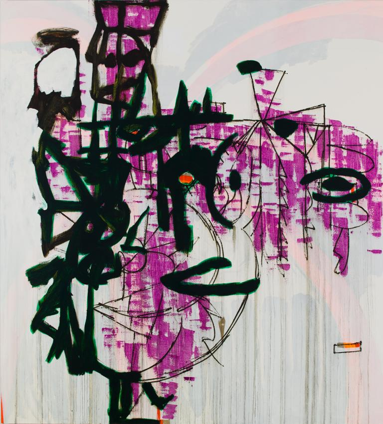 Charline von Heyl, Jakealoo, 2012, oil and acrylic on canvas, 82 x 74 inches (co