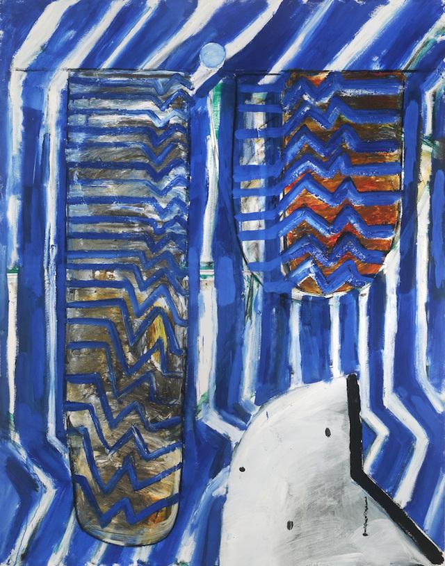 John Walker, Raft, 2014, oil on canvas, 84 x 66 inches (courtesy of Alexandre Ga