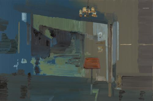 Richard Walker, Blue Room, 2011, oil on panel, 15 x 22 1/2 inches (courtesy of A