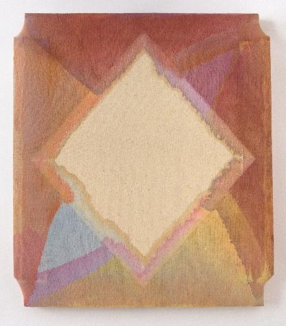 Maria Walker, Color Series 1-2, 2012, acrylic, drop cloth, gesso, wood, 17.75 x