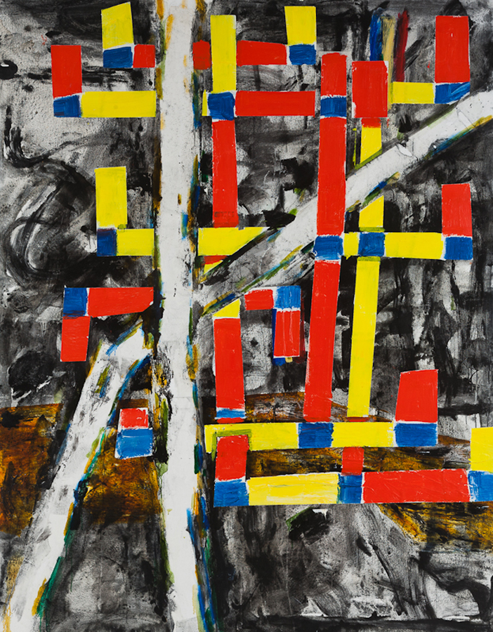 John Walker, Red and Yellow Birch Cross, 2011, oil on canvas  213.4 x 168cm (© J