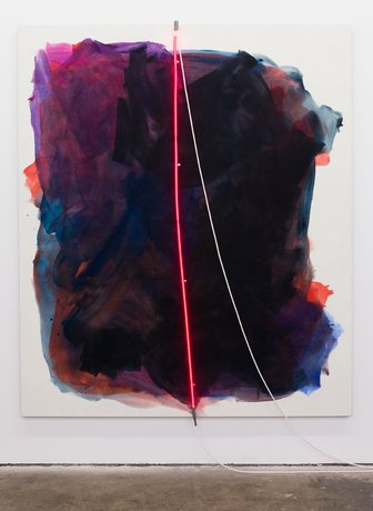Mary Weatherford, Ruby II (Thrifty Mart), 2012 (courtesy of the artist and LAXAR