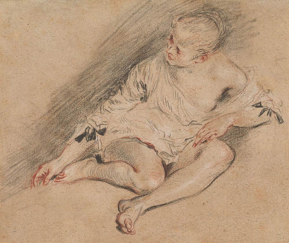 Antoine Watteau, Young Woman Wearing a Chemise, ca. 1718, black, red and white chalk, 6 3/4 x 8 inches (Thaw Collection, The Morgan Library & Museum)