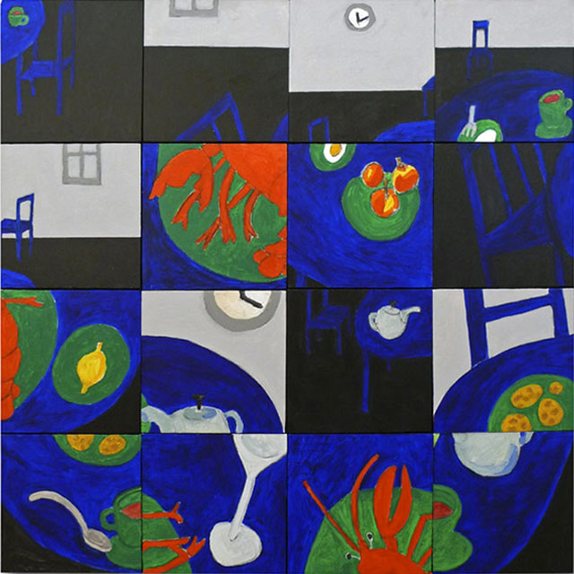 Susan Weil, The Queen's Tea Party, 2011, acrylic on canvas, 48 ½ x 48 inches (co