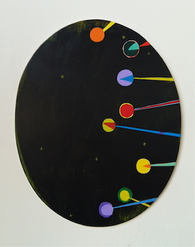 Bill Weiss, Oval 6, 2014, acrylic on wood, 29 x 23 inches (courtesy of the artis