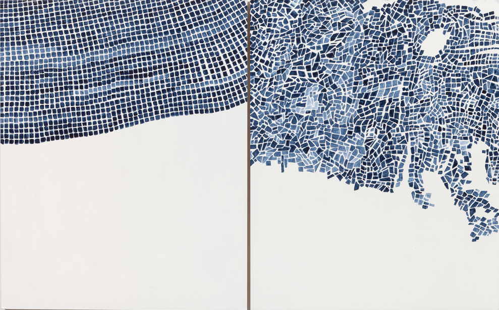 Marjorie Welish, Before After Oaths Gray 4, 2013, acrylic on panel (diptych), 20 x 32 inches (© Marjorie Welish/courtesy of Art 3)