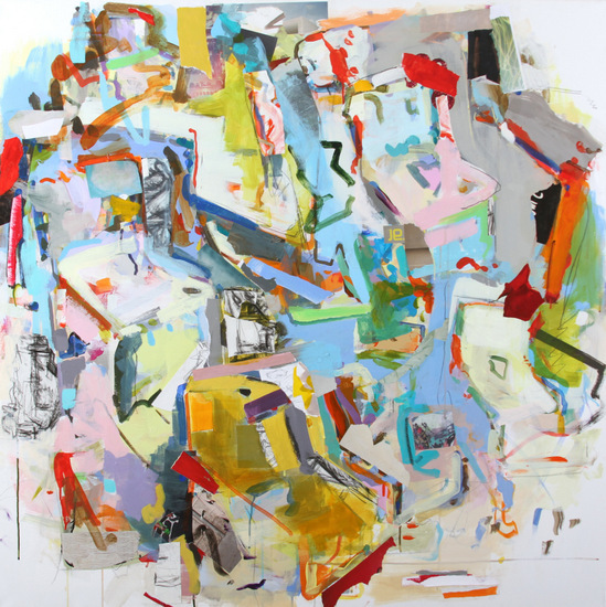 Gina Werfel, Slant Steps, acrylic and mixed media, 48 x 48 inches, 2012 (courtes