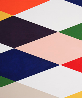Stephen Westfall, Reclining Harlequin, 2015, oil and alkyd on canvas, 48 x 66 in