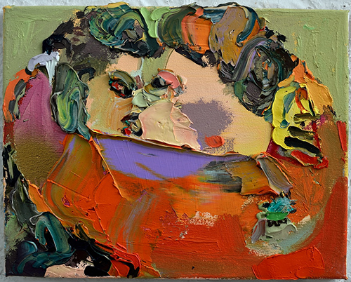 Summer Wheat, Kiss, 2012, acrylic and oil on canvas, 12 x 8 inches (courtesy the