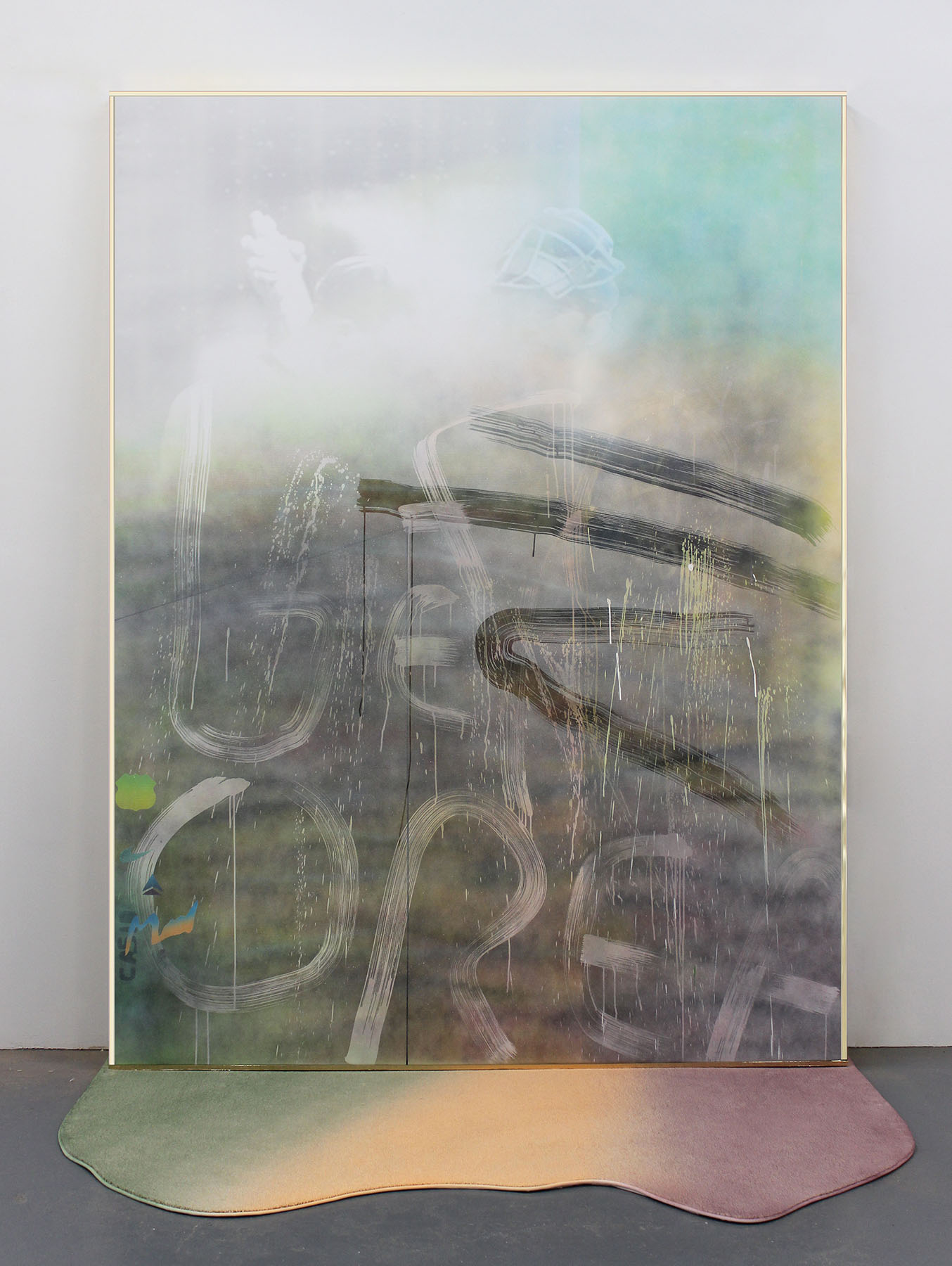 Wendy White, The Midge Game, 2014, acrylic on UV vinyl, wood and gold mylar fram