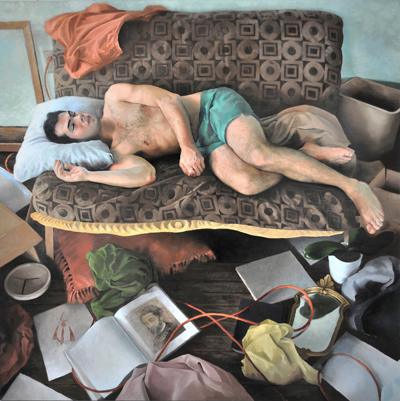 Tyler Wilkinson, Topher, oil on panel, 72 x 72 inches, 2012 (courtesy of the art