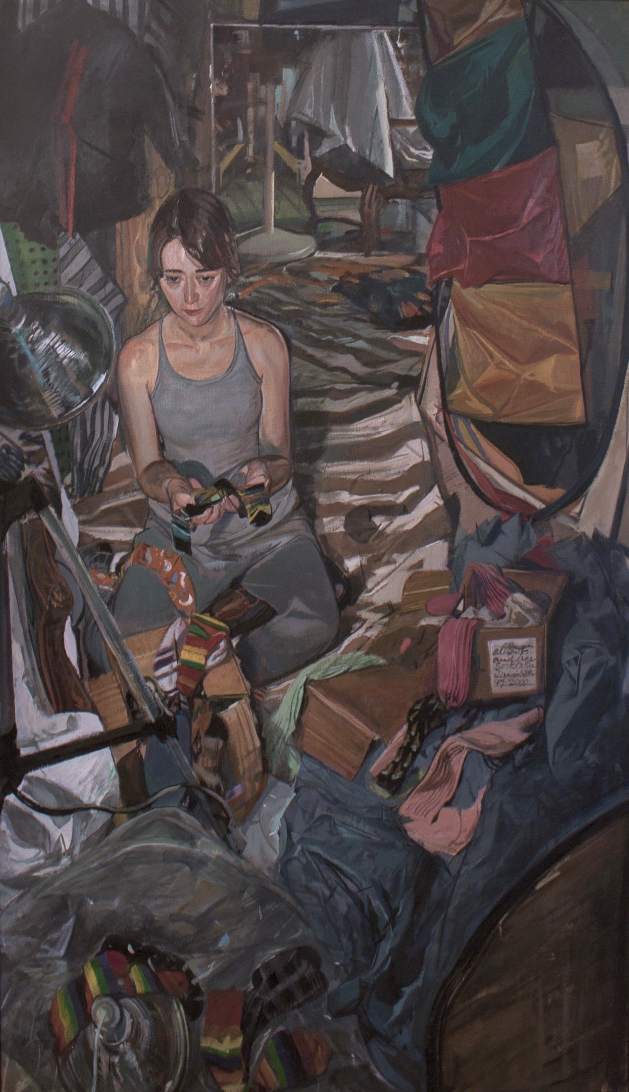 Jerome Witkin, Alexis Firsty and Her Collection of Socks, oil on canvas, 63 x 36