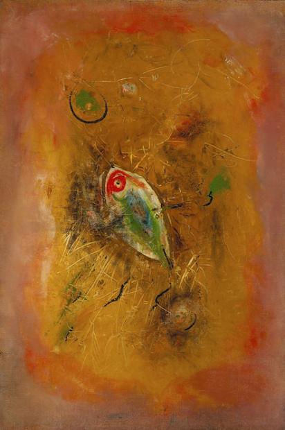 Wols, Le Poisson (Fish), 1949, Oil on canvas, 28 3/4 × 19 5/8 inches (courtesy o