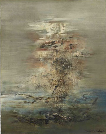 Zao Wou-Ki, 04-06-62, 1962, oil on canvas, 36 x 28 1/8 inches (courtesy of Lévy Gorvy, New York)