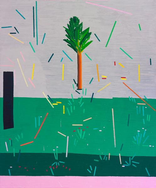 Guy Yanai, Ancienne Rive (A Tree and a Cave), 2015, oil on linen, 72 x 60 inches