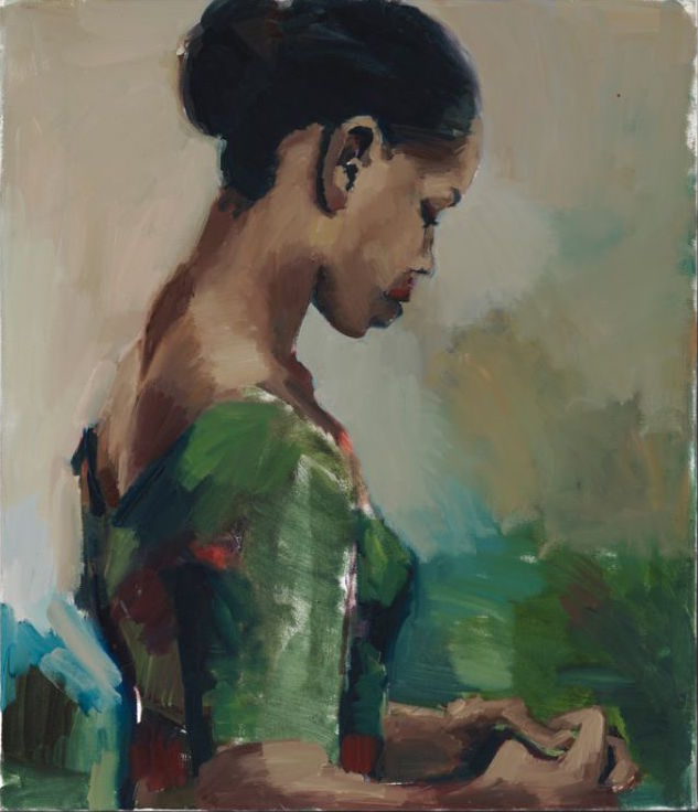 Lynette Yiadom-Boakye, The Work, 2015, oil on canvas, 27.7 x 23.8 inches (courtesy of Jack Shainman Gallery, New York)