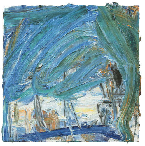 Ying Li, City Series #3, Blue Curtain, 2014, oil on panel, 10 x 10 inches (court