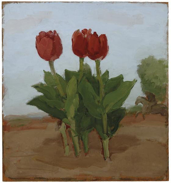 Albert York, Three Red Tulips in a Landscape with Horse and Rider, 1982, oil on