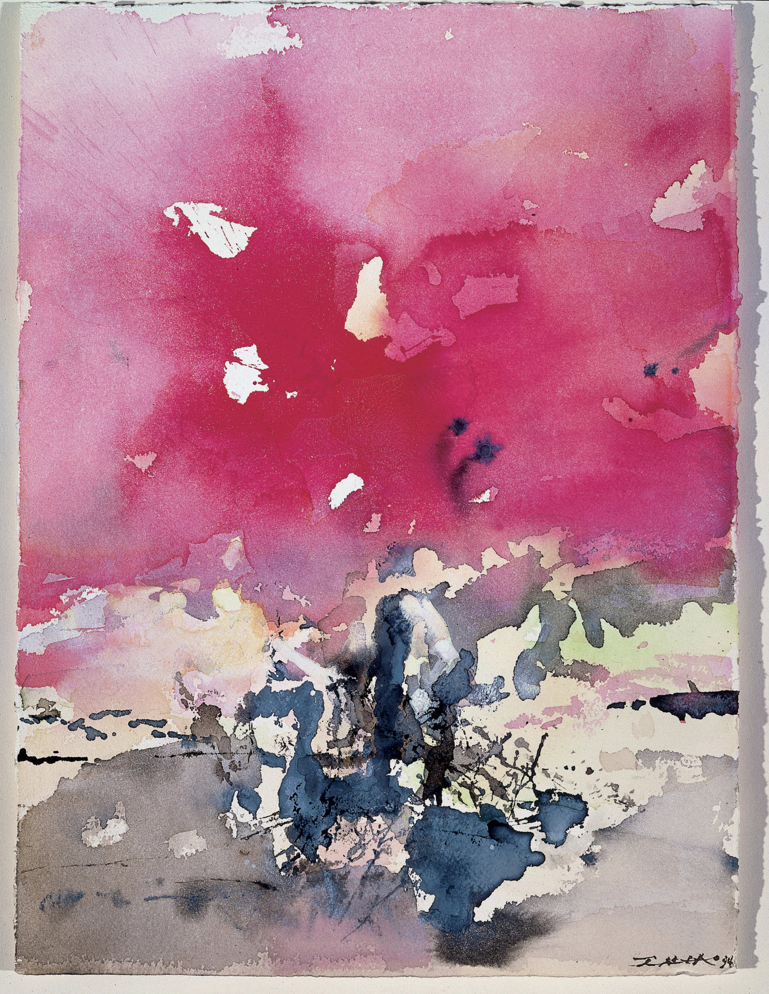 Zao Wou-Ki, Sans titre (Untitled), 1994, watercolor on paper, 17 × 12 inches (Private collection, Taiwan © Zao Wou-Ki/ProLitteris, Zurich. Rights Reserved)