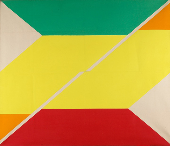 Larry Zox, Diagonal IV, 1967-1968, acrylic on canvas, 84 x 72 inches (courtesy Berry Campbell Gallery, New York)