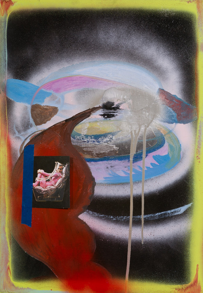 Molly Zuckerman-Hartung, Going into Space, 2009, oil, spray paint, collage, and