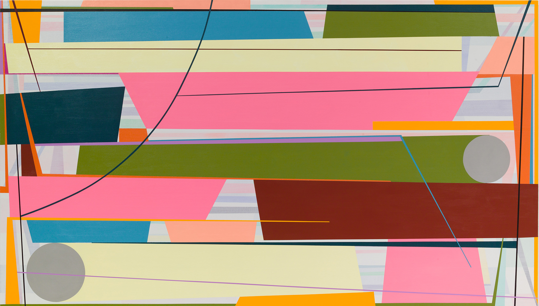 Gary Petersen, Spin Out, 2016, acrylic on canvas, 48 x 84 inches (courtesy of the artist and McKenzie Fine Art, New York)