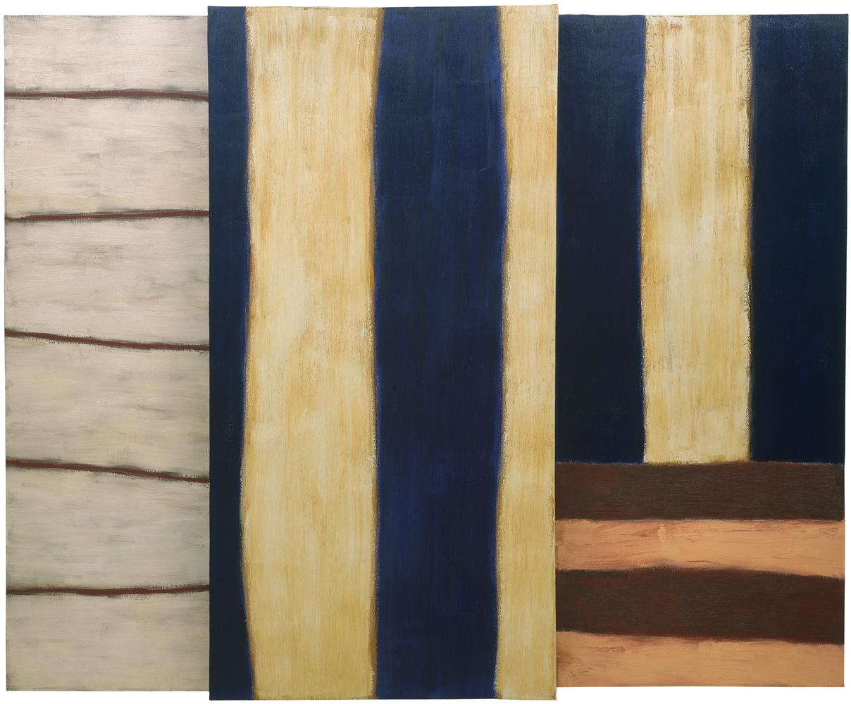 Sean Scully, No Neo, 1984, oil on linen, 96 x 120 inches (243.8 x 304.8 cm) (ourtesy Mnuchin Gallery, New York, © Sean Scully)