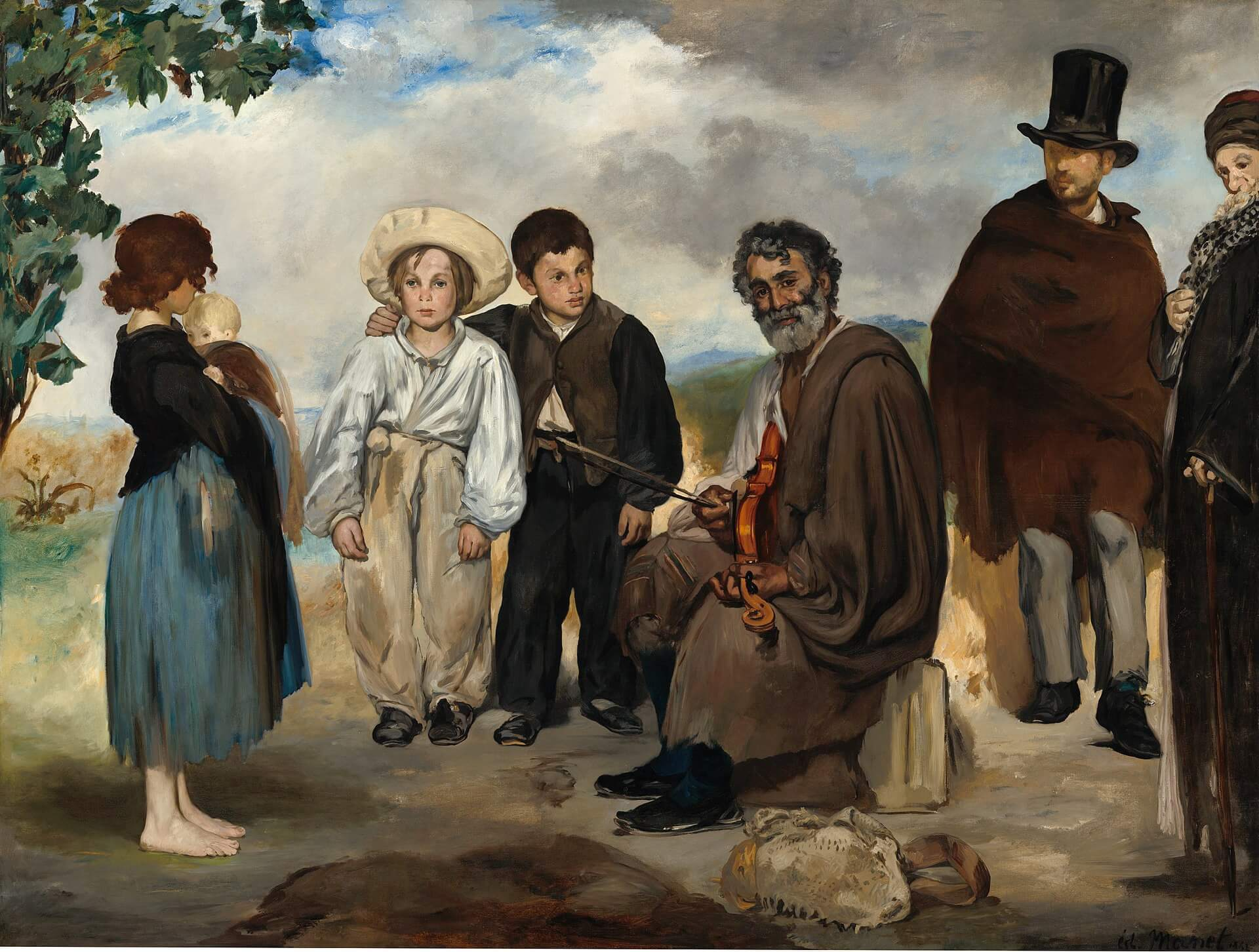 Édouard Manet, The Old Musician, 1862, oil on canvas, 73.8 in × 97.8 inches (National Gallery of Art, Washington, D.C.)