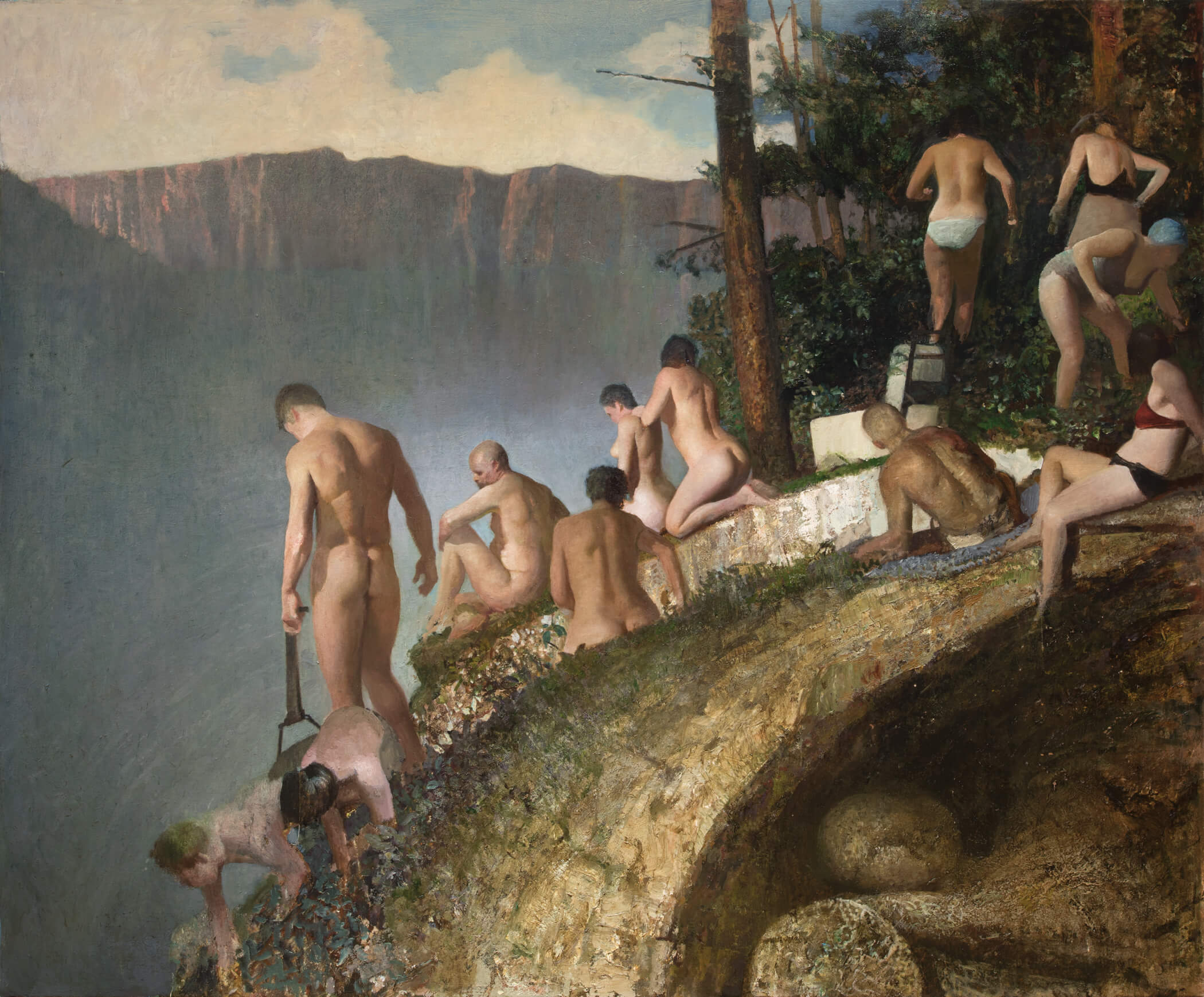 Vincent Desiderio, Bathers, 2017, oil on canvas, 57 x 69 inches (© Vincent Desiderio, courtesy Marlborough Gallery, New York)