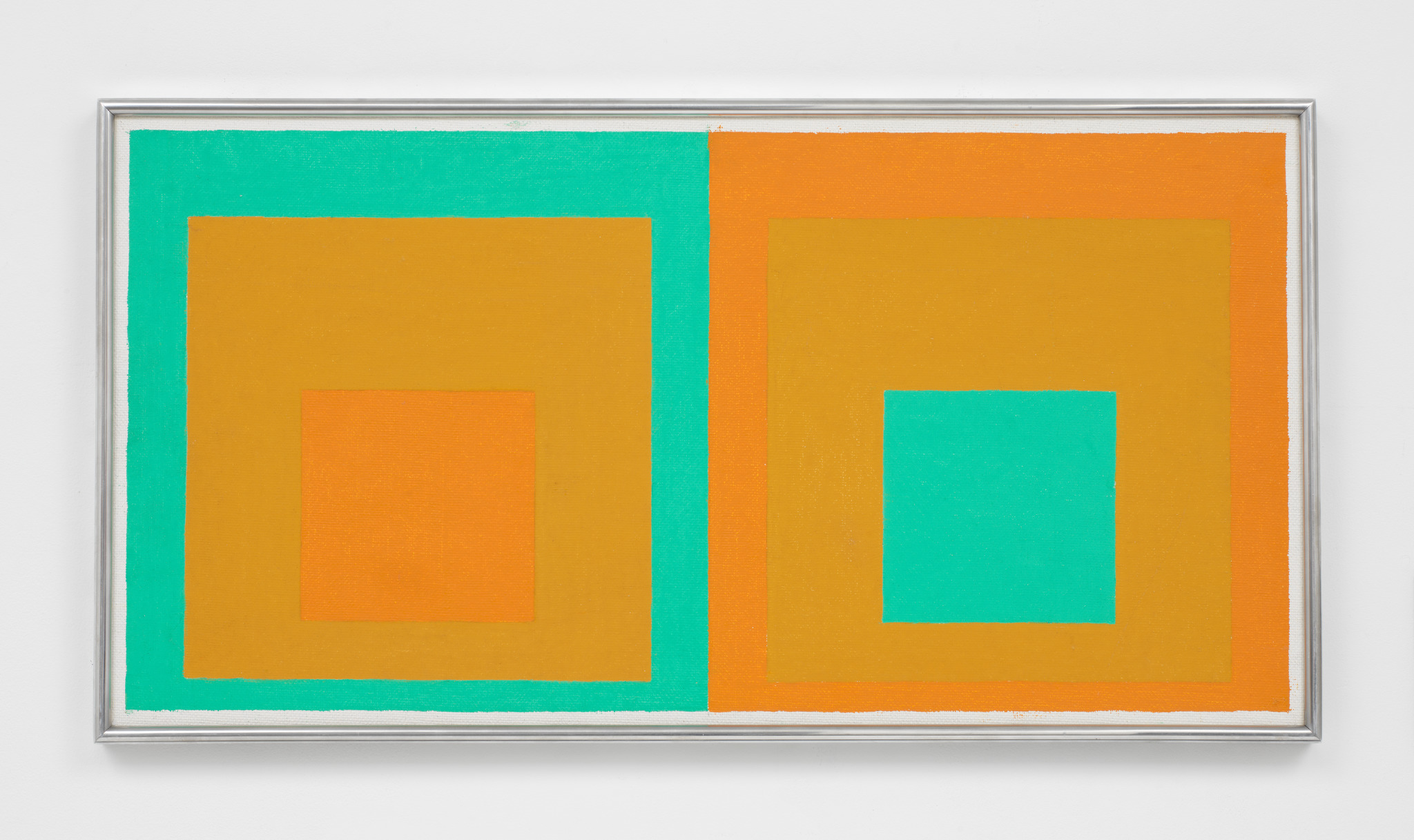 Josef Albers, Double Homage to the Square, 1957, oil on masonite, 16 x 31 inches (© 2018 The Josef and Anni Albers Foundation/Artists Rights Society (ARS), New York. Courtesy The Josef and Anni Albers Foundation and David Zwirner)
