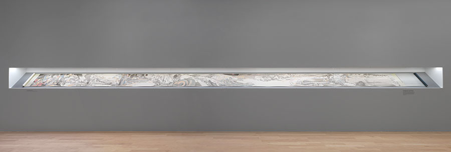 Hao Liang, Streams and Mountains Without End, 2018, ink and color on silk, 17 × 395 inches, installation view at Gagosian Madison Avenue, New York (Artworks © Hao Liang, photo by Rob McKeever, courtesy of Gagosian)