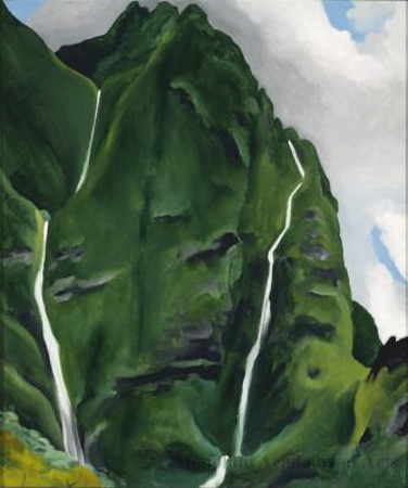 Georgia O'Keeffe, Waterfall—End of Road—'Iao Valley, 1939, oil on canvas, 19 x 16 inches (Honolulu Museum of Art, Purchase, Allerton, Prisanlee and General Acquisition Funds and with a gift from The Honolulu Advertiser, 1989 (5808.1)