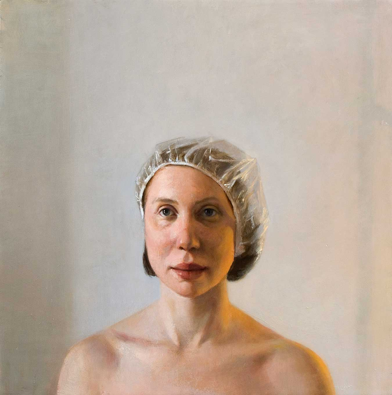 Emil Robinson, Showered, 2007, oil on panel, 24 x 24 inches (courtesy of the artist)
