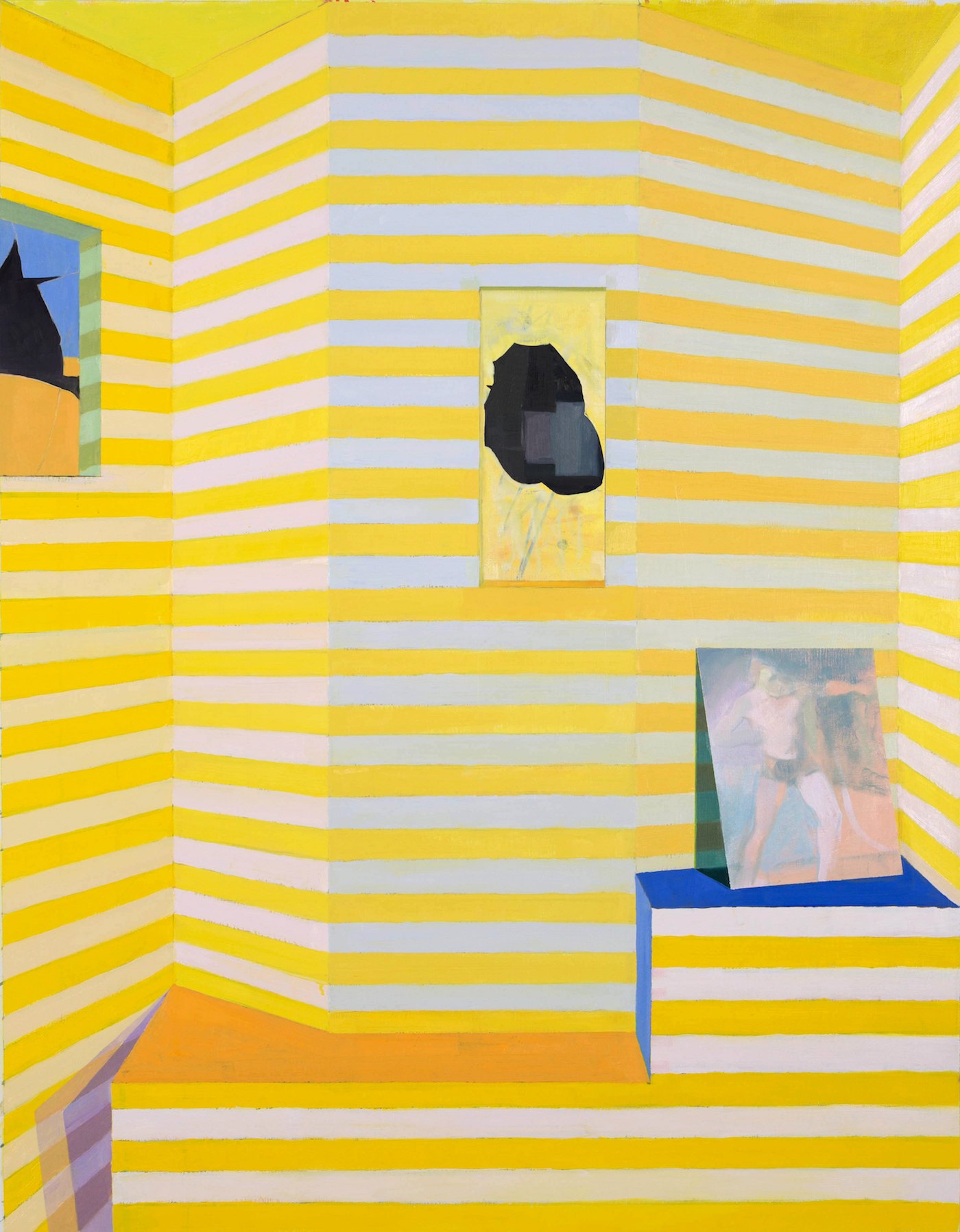 Emil Robinson, Yellow Striped Interior, 2016, oil on linen, 72 x 50 inches (courtesy of the artist)