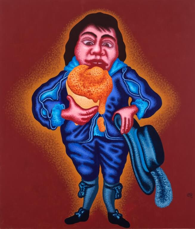 Peter Saul, Blue Boy with Ice Cream Cone, 84 x 72 inches, acrylic on canvas, 2017 (courtesy of Mary Boone Gallery)
