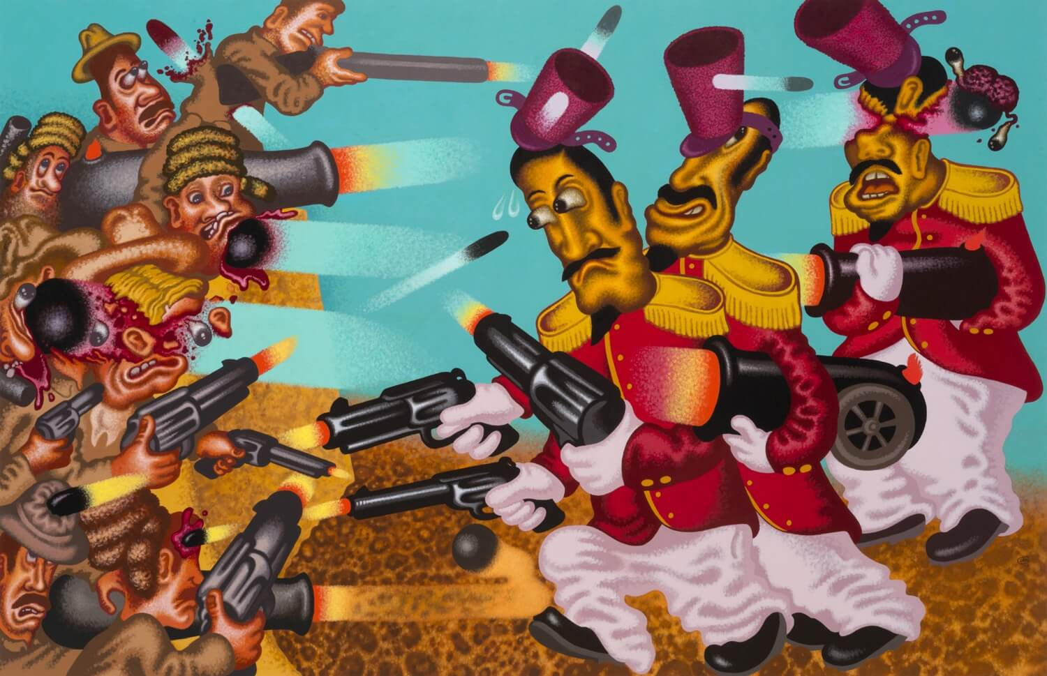 Peter Saul, Return to the Alamo, 78 x 120 inches, acrylic on canvas, 2017 (courtesy of Mary Boone Gallery)
