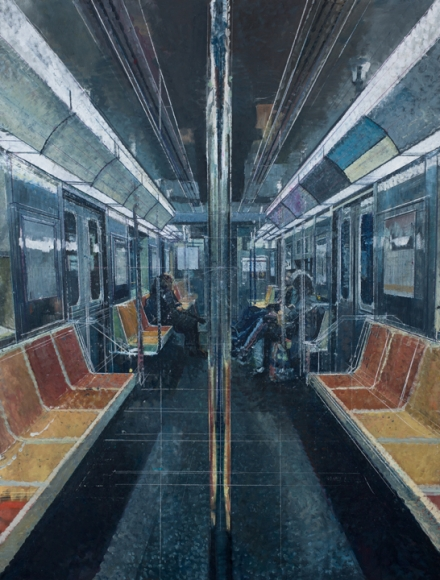 Bernardo Siciliano, Tender is the Night (Subway), 2019, oil on canvas, 94 x 71 inches (courtesy of Aicon Gallery)