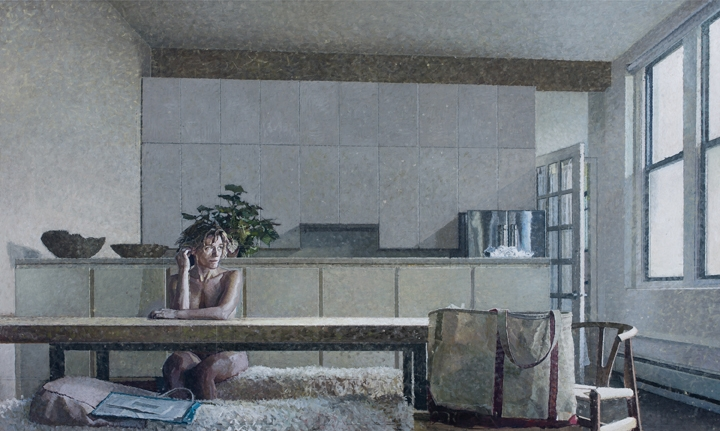 Bernardo Siciliano, Monday Morning, 2019, oil on canvas, 78 x 130.5 inches  (courtesy of Aicon Gallery)