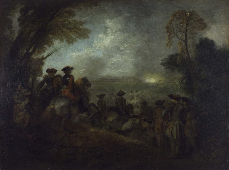 Jean-Antoine Watteau, The Line of March, ca. 1710, oil on canvas, 15 3/8 x 19 5/16 inches (York Museums Trust,York Art Gallery)