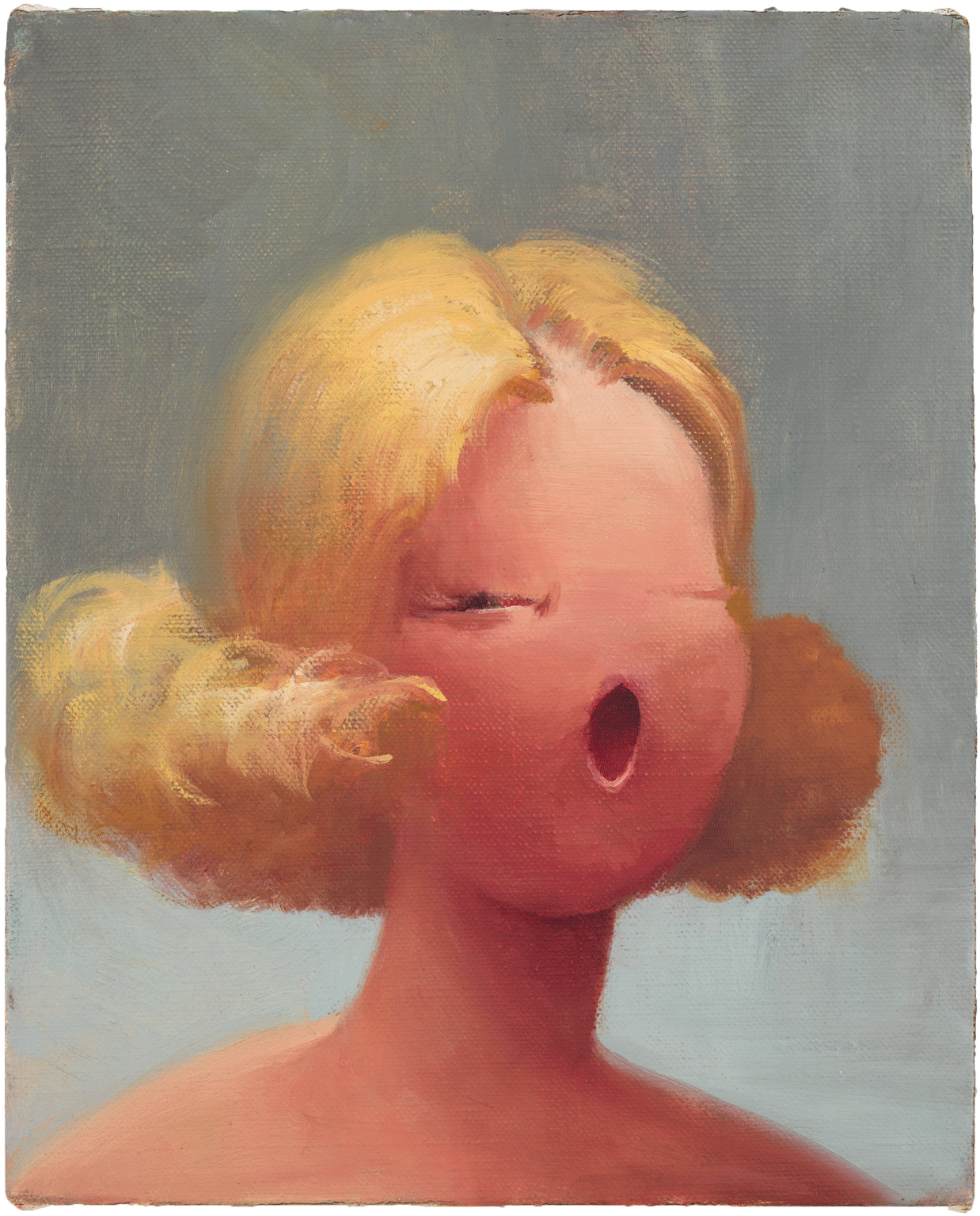 Lisa Yuskavage, Oh 2, 1995, oil on linen, 10 x 8 inches (Private Collection, Milan, image courtesy of David Zwirner Gallery)