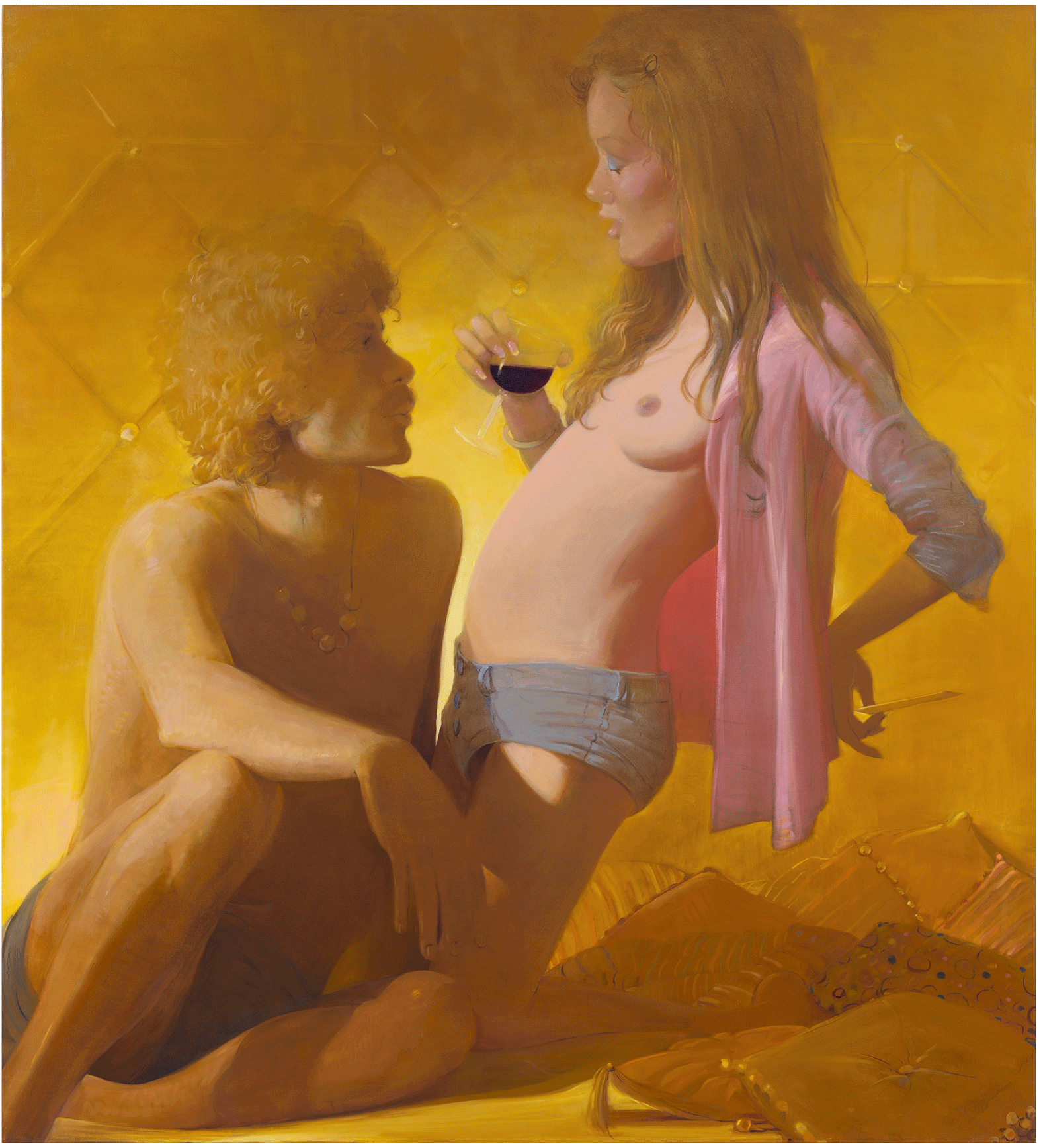 Lisa Yuskavage, Golden Couple, 2018, oil on linen, 77 1/8 x 70 inches (courtesy of David Zwirner Gallery)