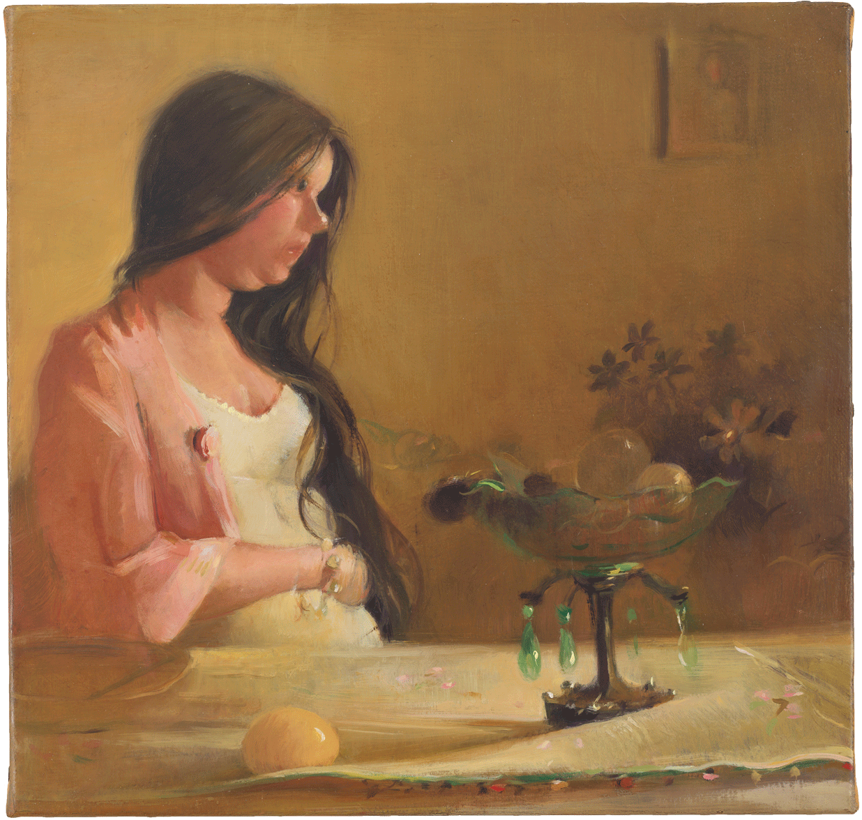 Lisa Yuskavage, Wee Morning, 2004, oil on linen, 10 x 10 3/8 inches (Private Collection, image courtesy of David Zwirner Gallery)