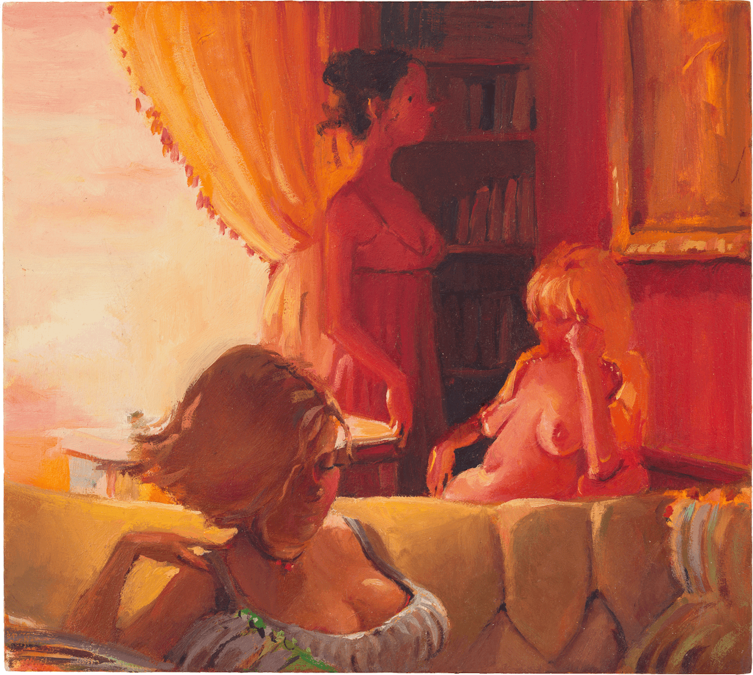 Lisa Yuskavage, Northview Afternoon, 2000, oil on panel, 8 7/8 x 9 7/8 inches (Collection David Teiger Trust, image courtesy of David Zwirner Gallery)