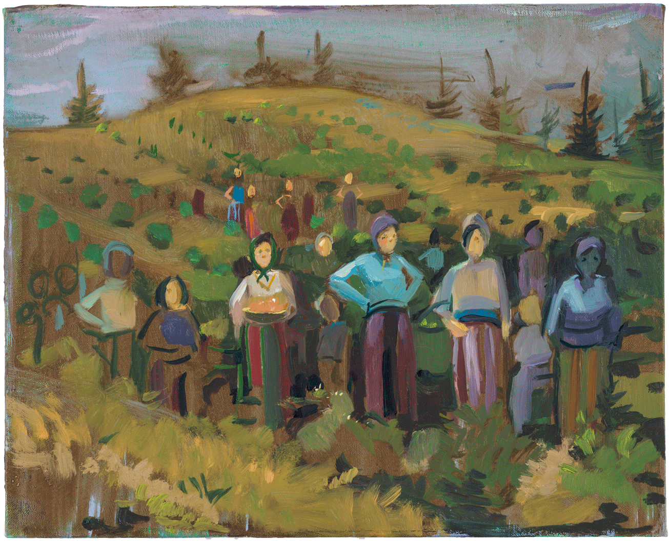 Lisa Yuskavage, Peasants, 2015, oil on linen, 8 1/8 x 10 1/8 inches (Private Collection, image courtesy of David Zwirner Gallery)